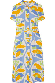 Miu Miu Belted printed crepe midi dress