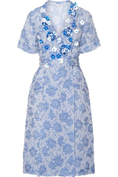 MIU MIU FLORAL-EMBELLISHED CLOQUE DAY DRESS, LIGHT BLUE