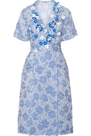 Miu Miu Floral-appliquéd silk-blend cloqué wrap dress