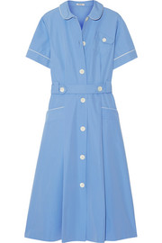 Belted cotton-poplin midi dress