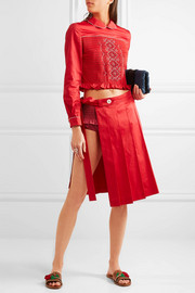Miu Miu Smocked embroidered cotton-poplin briefs