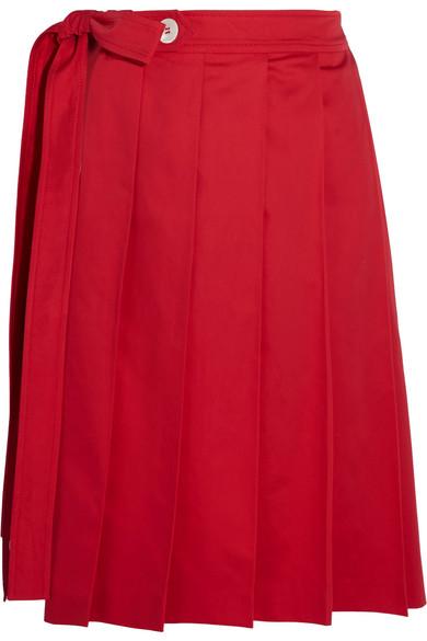 Miu Miu - Pleated Cotton-poplin Wrap Skirt - Red