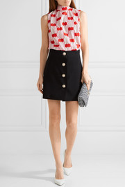 Miu Miu Bow-embellished printed cotton-poplin top