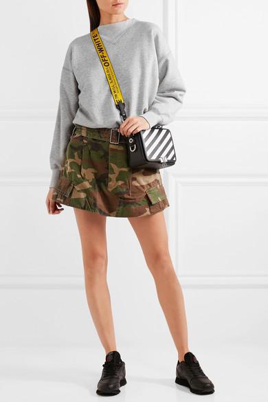 d498081042 Off-White. Striped textured-leather shoulder bag