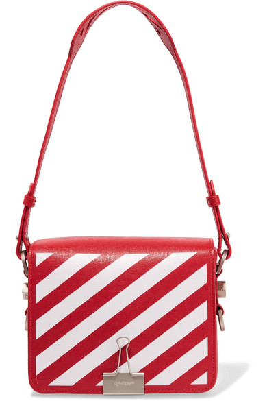 Off-White | Striped textured-leather shoulder bag | NET-A-PORTER.COM