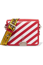 Striped textured-leather shoulder bag
