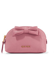 Miu Miu Bow-embellished textured-leather cosmetics case