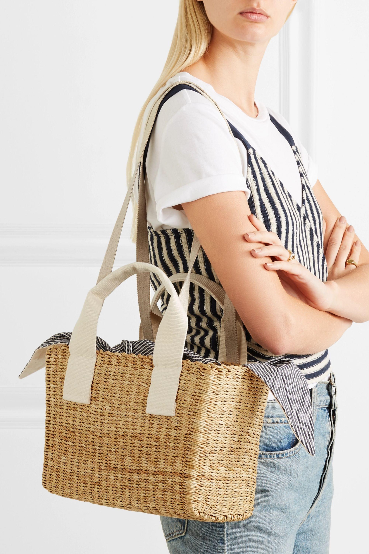 Muuñ Ninon straw and striped cotton-canvas tote