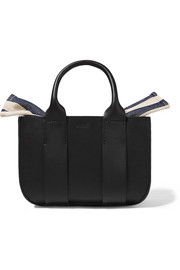 Muun Gilbert micro leather and striped cotton-canvas tote