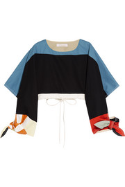Cropped color-block cotton-twill top