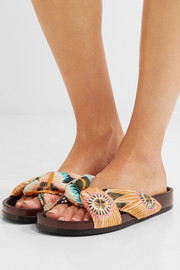 EXCLUSIVE Floral-print satin and leather slides