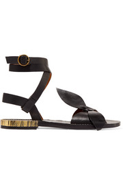Chloé Bow-detailed embellished leather sandals