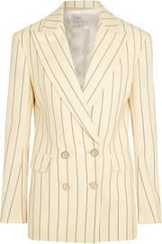 Double-breasted pinstriped wool-twill blazer