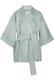 Quilted jacquard kimono