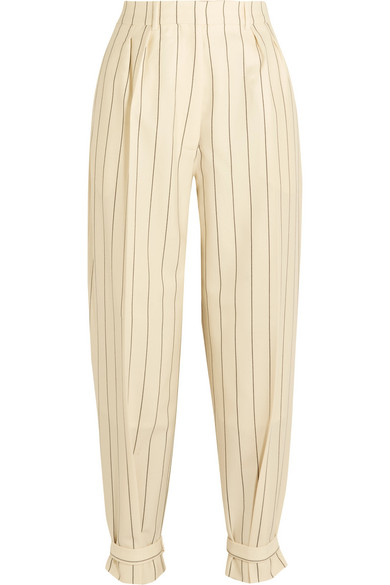 Buckled pinstriped wool-twill pants