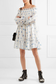 Alexander McQueen Off-the-shoulder floral-print cotton-voile mini dress