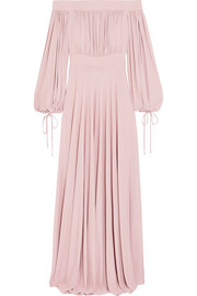 Alexander McQueen Off-the-shoulder gathered jersey gown