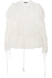 Alexander McQueen Ruched cotton and silk-blend crepe blouse