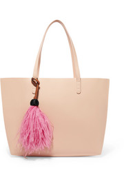 Suede-trimmed feather bag charm