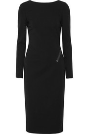 Zip-detailed stretch-crepe midi dress
