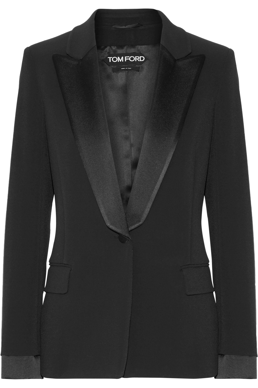 TOM FORD Satin-trimmed stretch-cady blazer