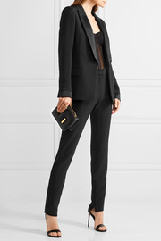 Satin-trimmed stretch-cady blazer