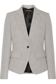 TOM FORD Leather-trimmed wool and mohair-blend blazer