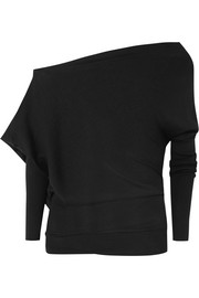 One-shoulder cashmere and silk-blend sweater