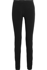 TOM FORD Satin-paneled stretch-crepe slim-leg pants
