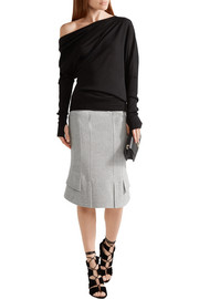 Asymmetric wool-blend skirt