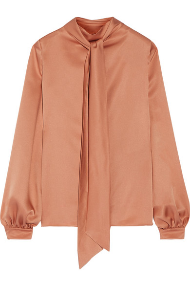 TOM FORD - Pussy-bow Silk-satin Blouse - Tan