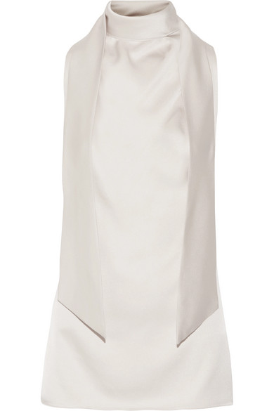 TOM FORD - Pussy-bow Cutout Silk-satin Top - Beige