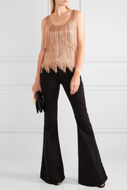 Fringed stretch-knit camisole