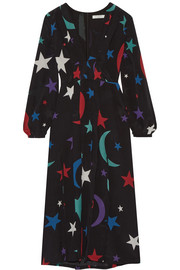 Camellia printed silk midi dress