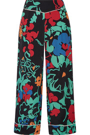 RIXO London Ashley cropped printed crepe wide-leg pants