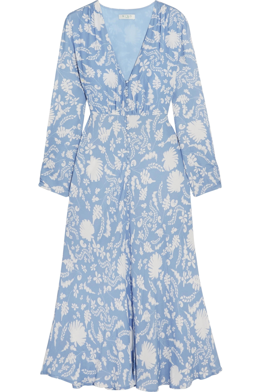 RIXO Katie printed crepe midi dress