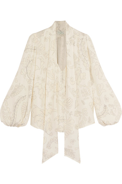 RIXO London - Moss Pussy-bow Printed Crepe Blouse - White