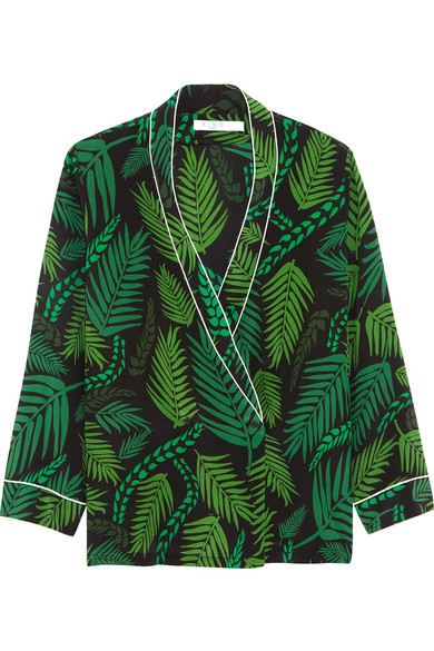 RIXO London - Mary Kate Wrap-effect Printed Silk Crepe De Chine Top - Green