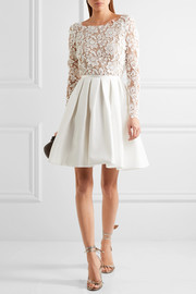 Clover embroidered tulle and cady mini dress