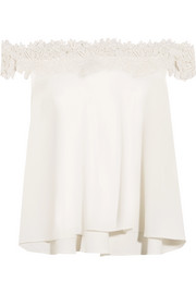 Rime Arodaky Carla off-the-shoulder lace-trimmed crepe top