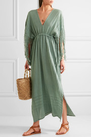 Yunuen fringed cotton-gauze dress