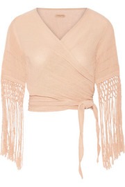 Luum fringed basketweave cotton wrap top