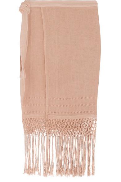 Caravana - Imix Fringed Cotton-gauze Wrap Skirt - Beige