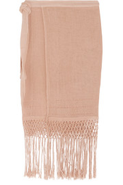 Caravana Imix fringed cotton-gauze wrap skirt