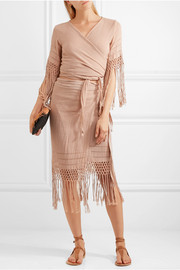 Imix fringed cotton-gauze wrap skirt