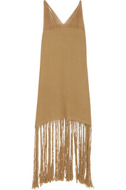 Itzia fringed cotton-gauze dress