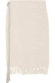 Caravana Leather-trimmed fringed cotton-gauze skirt