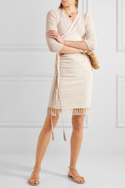 Leather-trimmed fringed cotton-gauze skirt