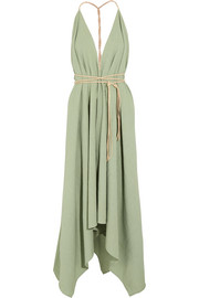 Yatzil asymmetric leather-trimmed cotton maxi dress