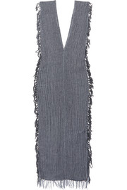 Tuunich fringed cotton-gauze dress